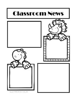 Newsletter Template for Preschool, Kindergarten, and First