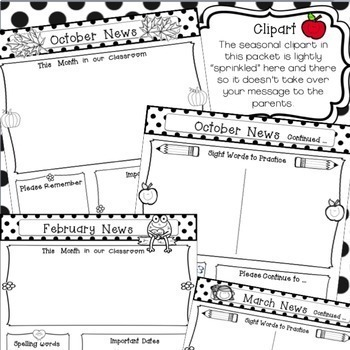 Editable Monthly Newsletter Templates by Frogs Fairies and