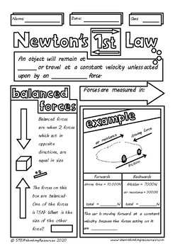 Newton's 1st Law Balanced Forces Doodle Sheet Visual