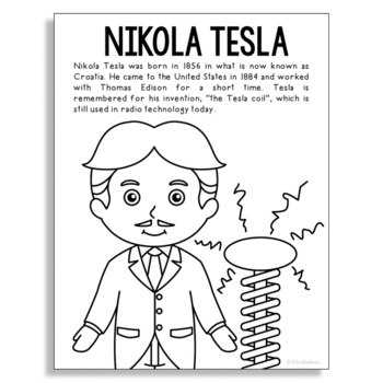 Nikola Tesla Coloring Page Craft or Poster, STEM