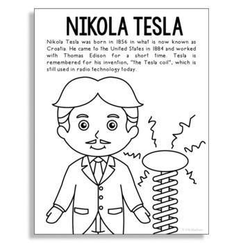 NIKOLA TESLA Inventor Coloring Page Craft or Poster, STEM