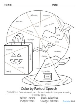 No Prep Halloween Parts of Speech Worksheet by Teachering