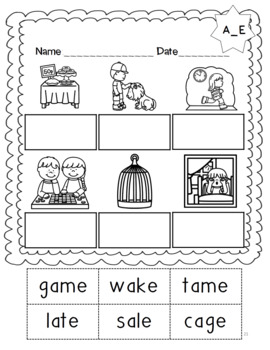 No Prep Long Vowel A CVCe, A_E Hands on Cut and Paste and