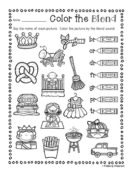No Prep: R-Blends Coloring Picture Match Activity Sheets