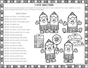 No Prep Seasonal & Holiday Following Directions Worksheets