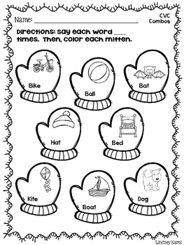 No Prep VC, CV, and CVC Apraxia Sheets for Winter by