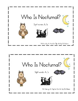 Nocturnal Animals Emergent Reader by Climbing The Monkey