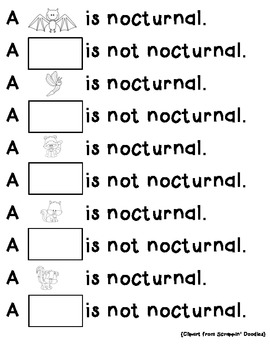 Nocturnal/Not Nocturnal Animal Worksheet by Shae Zimmerman