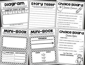 Non Fiction Choice Board Activities Reading Response by