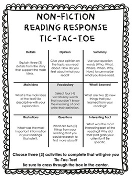 Non Fiction Reading Response Tic Tac Toe Choice Board by