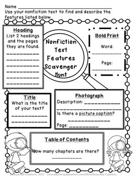 Nonfiction Text Features Assessments by Busy Bee Creations