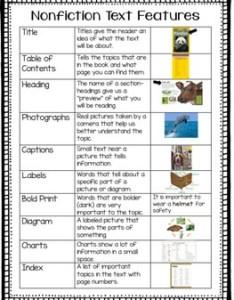 Nonfiction text features chart also by elementary ever after tpt rh teacherspayteachers