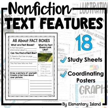 Nonfiction Text Features Worksheets and Posters by