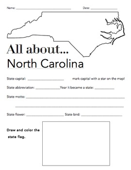 North Carolina State Facts Worksheet Elementary Version By The Wright Ladies