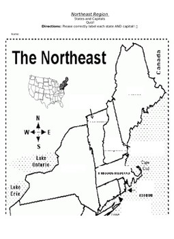 Northeast Region States and Capitals quiz by Jessica Forte
