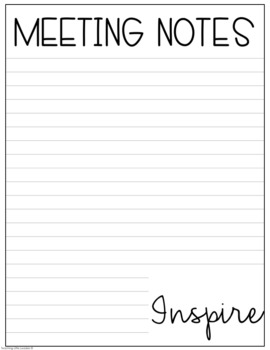 Notes Pages for Meetings Freebie by Teaching Little