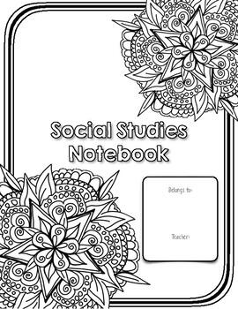 Notebook Cover Page: Social Studies by Teaching Speaks