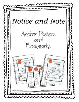 Notice and Note Anchor Charts and Bookmarks by Musings