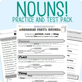 Nouns Grammar Worksheet Packet Test By Mrwatts