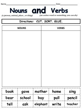 Nouns And Verbs Cut And Paste By Teachingisfun