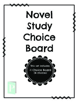 Novel Study Choice Board FREEBIE by Mrs Patricks Open Door