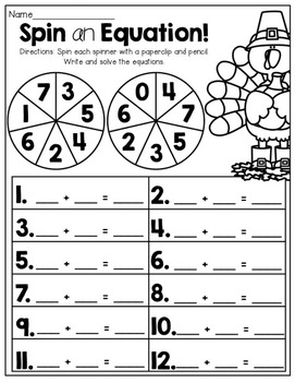 November NO PREP Math and Literacy Packet (1st Grade) by