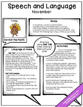 November Speech & Language Newsletter by Emily Klinker