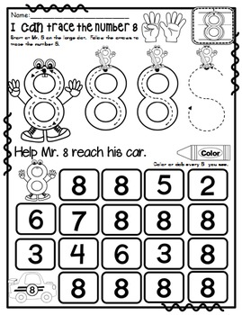 Number 8 Math Worksheets-NO PREP (PRE-KG EDITION)-Counting