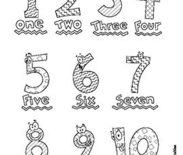 Number Coloring Pages For Preschool Numbers   By Tims Printables