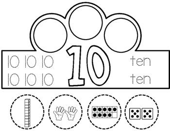 Number Crowns: Numbers 1-10 Interactive Crowns by