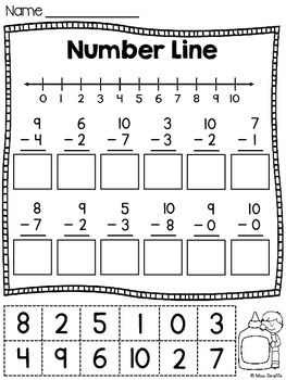 Number Lines Worksheets Cut and Paste Addition and