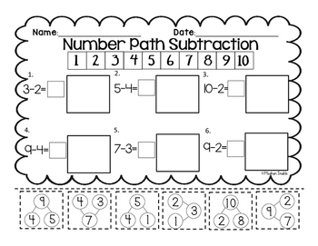 Number Path Subtraction Cut & Paste- Engage New York