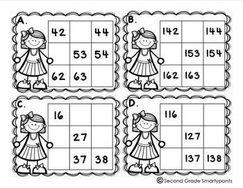 Number Patterns on a Hundreds Chart Task Cards by Second