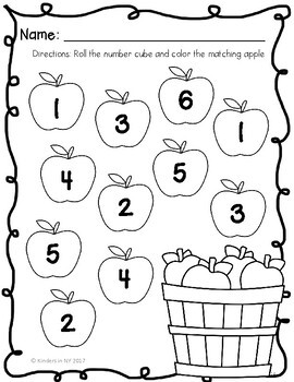 Number Recognition, Roll and Color, Fall by Kinders in NY