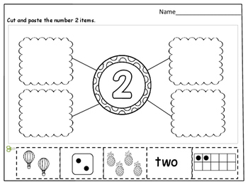 Number Sense (1-10) Cut and Paste Worksheets by Kids