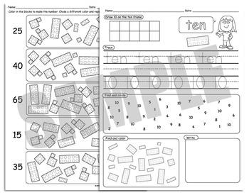 Number Sense Numbers 1-10, Ten Frames, Math Center Ideas