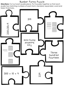 Number Sense and Place Value Color, Cut & Paste Pack for