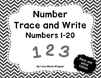 Number Trace and Write Numbers 1-20 Black and White