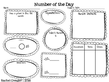 Number of the Day First Grade Common Core by Mrs C's