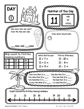 Number of the Day {Going to the Beach} First Grade Math