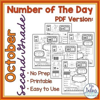 Number of the Day October Place Value Practice by Mrs