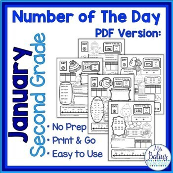 Winter Second Grade Math Place Value Number of the Day New