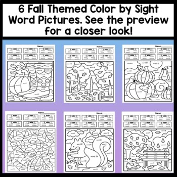 Sight Word Coloring Pages for Fall {8 pages!} {Sight Word