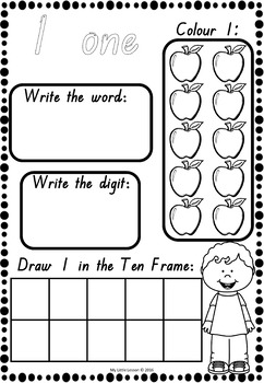 Numbers 1-10 Worksheets QLD Beginners Font by My Little
