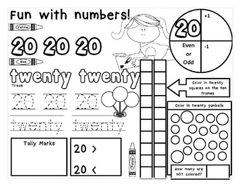 Numbers 1-20 Practice Pages with sweet candy theme