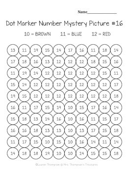 Kindergarten Numbers 10-20 Dot Marker Mystery Picture