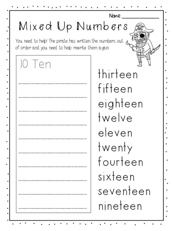 Worksheet Numbers 0 20 Ordering