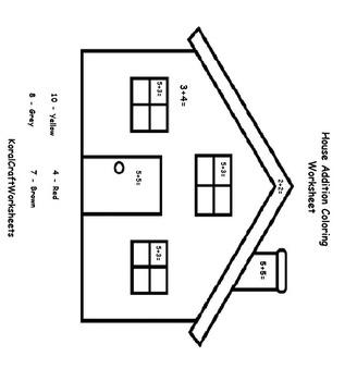 Numbers House Coloring Worksheet by Koral Craft Worksheet