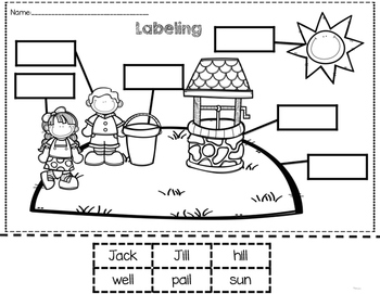 Kindergarten Sub Plans for Jack and Jill Sample Freebie by