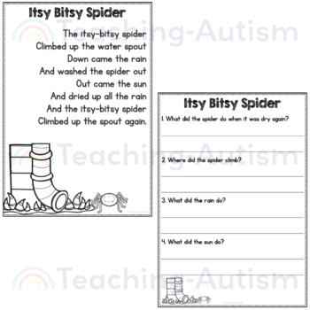 Nursery Rhymes Reading Comprehension Passages and